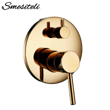 цена Smesiteli Brass Shower Valve Bathroom Thermostatic Shower Round Golden Dual Control Faucet Diverter Shower Control Connector онлайн в 2017 году