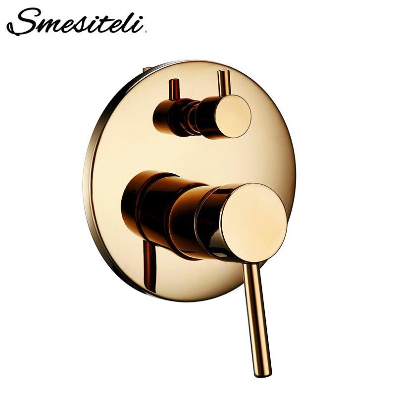 Smesiteli laiton vanne de douche salle de bain thermostatique douche ronde doré double contrôle robinet inverseur douche contrôle connecteur