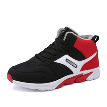 2017 winter high top men sport walking shoes add short plush Warmth Comfortable sneakers Breathable keep warming running shoes