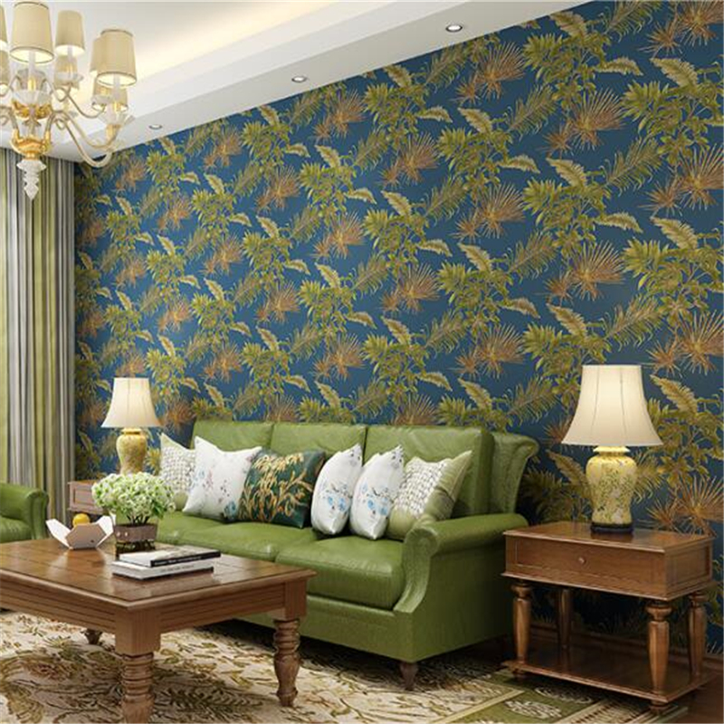 Beibehang papier peint Simple, retro wallpaper, bedroom, living room, leaf, wallpaper, big flower, TV background papel parede beibehang american non woven wallpaper bedroom living room tv background retro green rural countryside large flower wallpaper