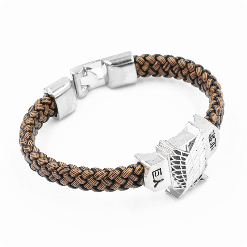 Attack on Titan Scouting Corps Anime Leather Bracelet DEATH NOTE Metal Accessories Cosplay Collection