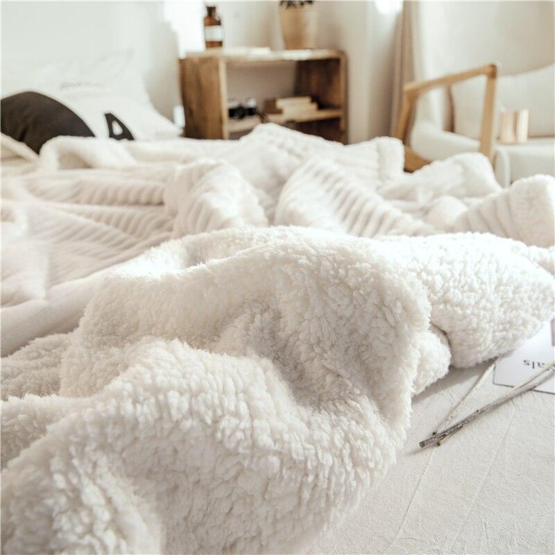 Luxe Streep Reliëf Flanel Fleece Dekens Effen Kleur Super Zachte Sherpa Worp Deken Voor Kinderen Volwassen Warme Winter Bed Sofa - 5
