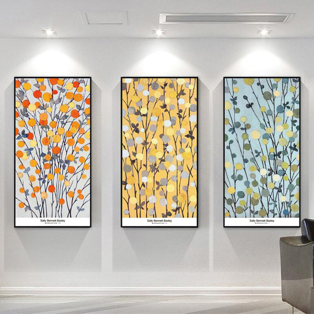 Three Color Branches Abstract Painting Reproductions 3 Piece Canvas ...