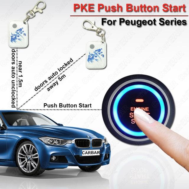 US $118 3 |Car Engine Push Start Button PKE Car Alarm for Peugeot Car Lock  System One Start Stop Button Auto Lock unlock Door CARBAR-in Tire Pressure
