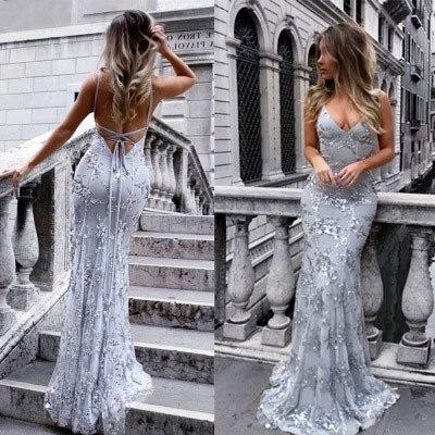Sexy argent sirène longues robes de soirée 2019 robes de soirée pour les femmes v-cou broderie dentelle dos nu pas cher robe de soirée bal nouveau