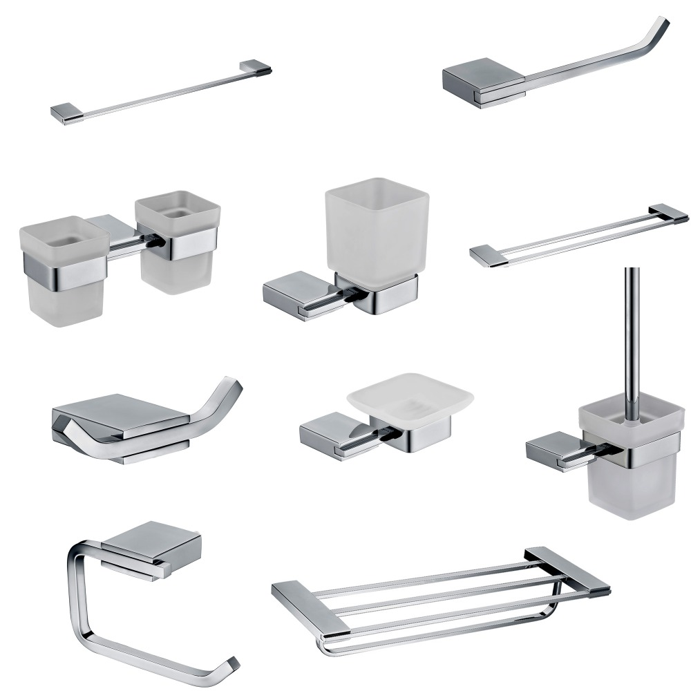 Stainless bathroom accessories - 2017 Sus 304 Stainless Steel Bathroom Hardware Set Mirror Polished Bathroom Accessories Toothbrush Holder Paper Holder