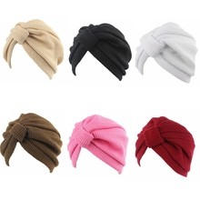 Mujeres ganchillo invierno elástico turbante India punto Cap Chemo sombrero  sólido accesorios del pelo(China b035c3ec3d0