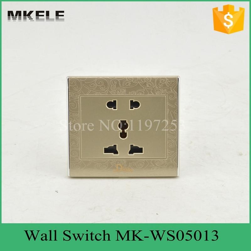 Livraison gratuite multifonction universel prise murale MK-WS05013 électrique 2 broches et 3 broches prise avec interrupteur mural
