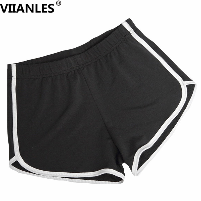 VIIANLES Exercise Women Yuga Shorts Striped Workout Fitness Shorts Cotton Leggin High Waist Gym Sportwear Jogging Tight Shorts