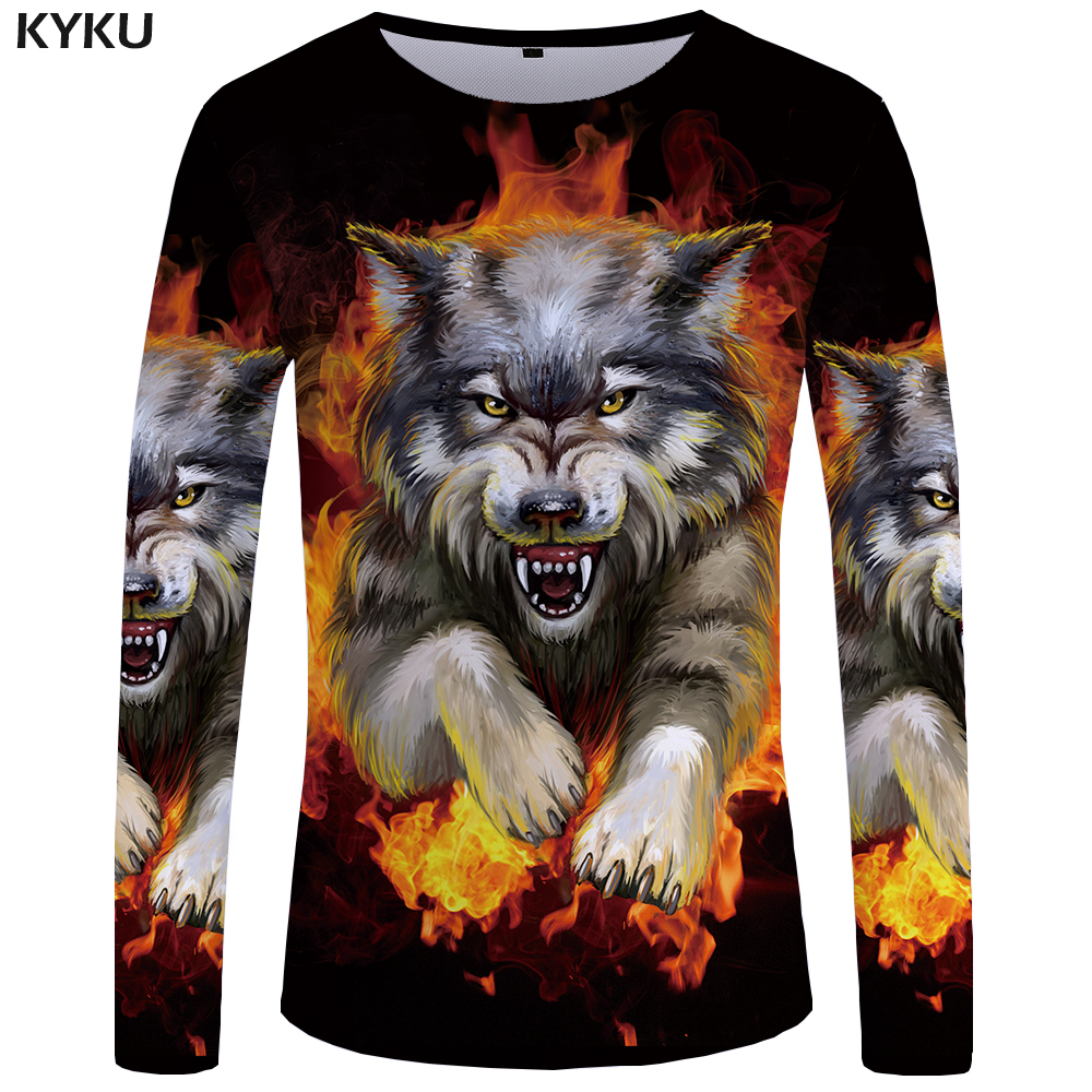 KYKU Wolf Long Sleeve T Shirt Flame Tops  Tees  Tshirt  3d T-shirt  Clothing Men Fashion Punk Male New