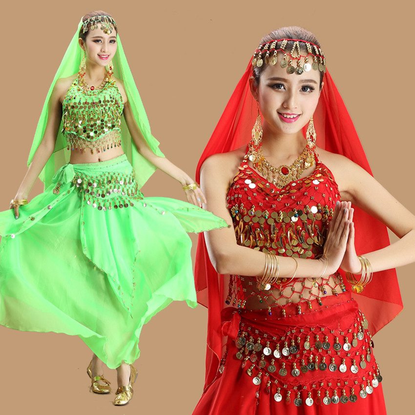 Belly Dance Costumes 2018 New Belly Dancing Clothing Indian Dance Performance Set Belly Dance Wear Adult Costume 9 Colors DN1400