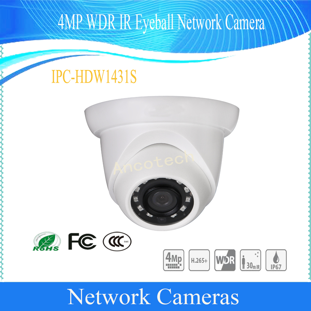 In Stock Free Shipping DAHUA Security IP Camera 4M WDR IR Eyeball Network Camera With POE IP67 With Logo DH-IPC-HDW1431S free shipping dahua ip camera cctv 6mp wdr ir eyeball network camera with poe ip67 without logo ipc hdw5631r ze