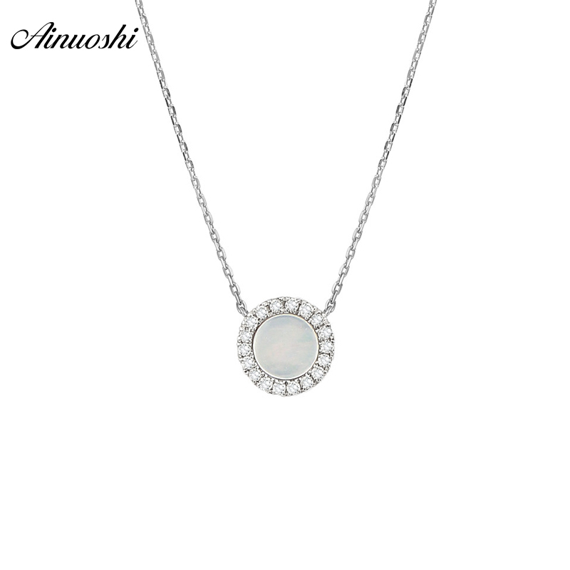 AINUOSHI Genuine 18K White Gold Round Pendant Necklace Natural White Onyx Pendant Round Cut Mini Diamond Link Chain Jewelry Gift