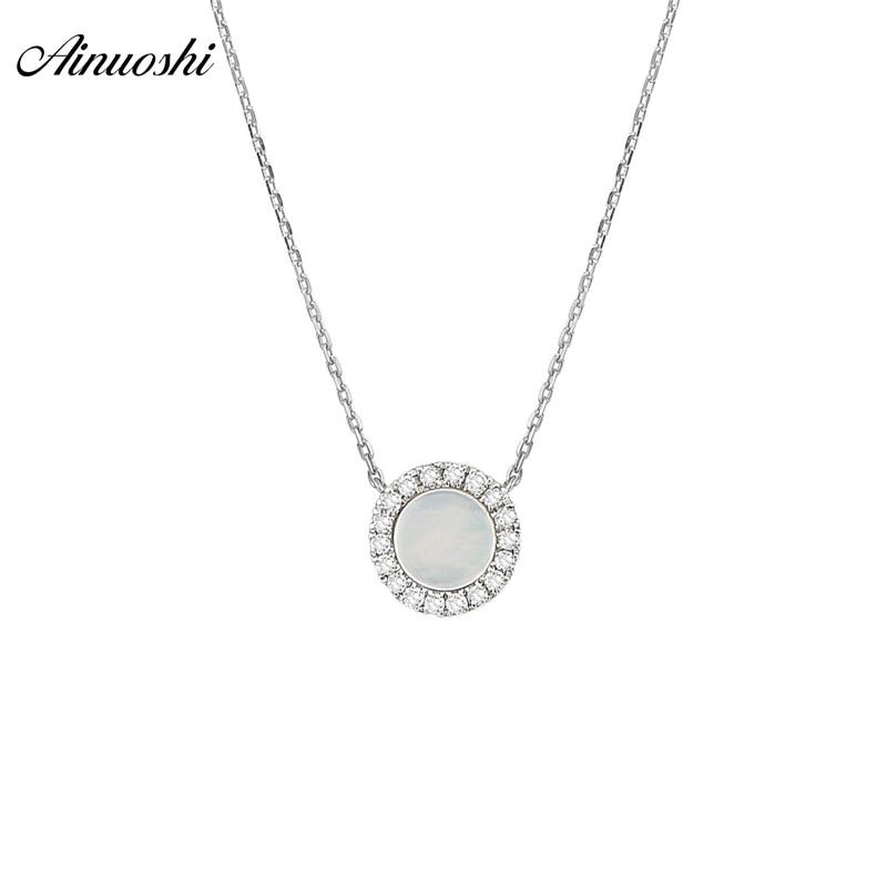 AINUOSHI Véritable 18 K Blanc Or Rond Pendentif Collier Blanc Naturel Onyx Pendentif Round Cut Mini Diamant Lien Chaîne Bijoux cadeau