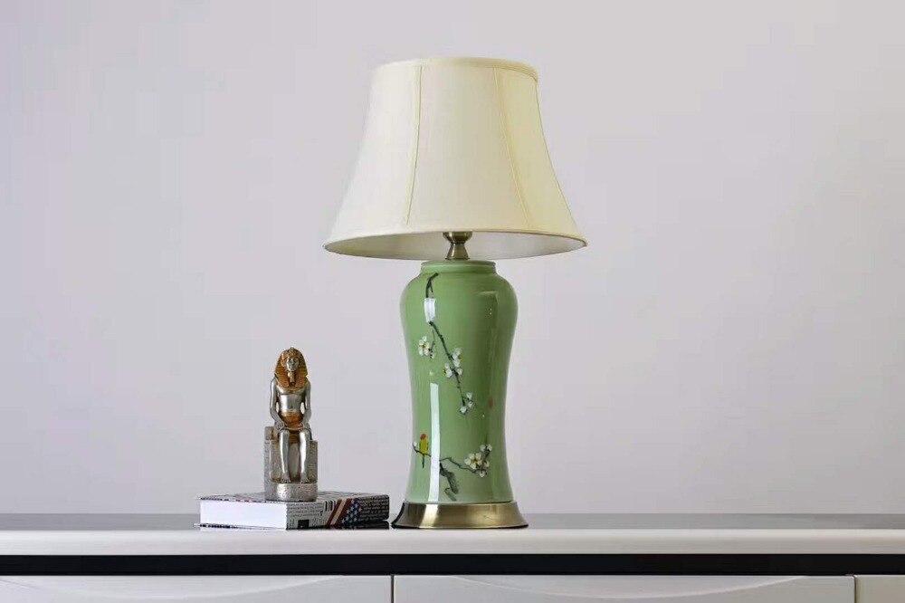 Lampes de table en céramique de vase en porcelaine émaillée de couleur verte