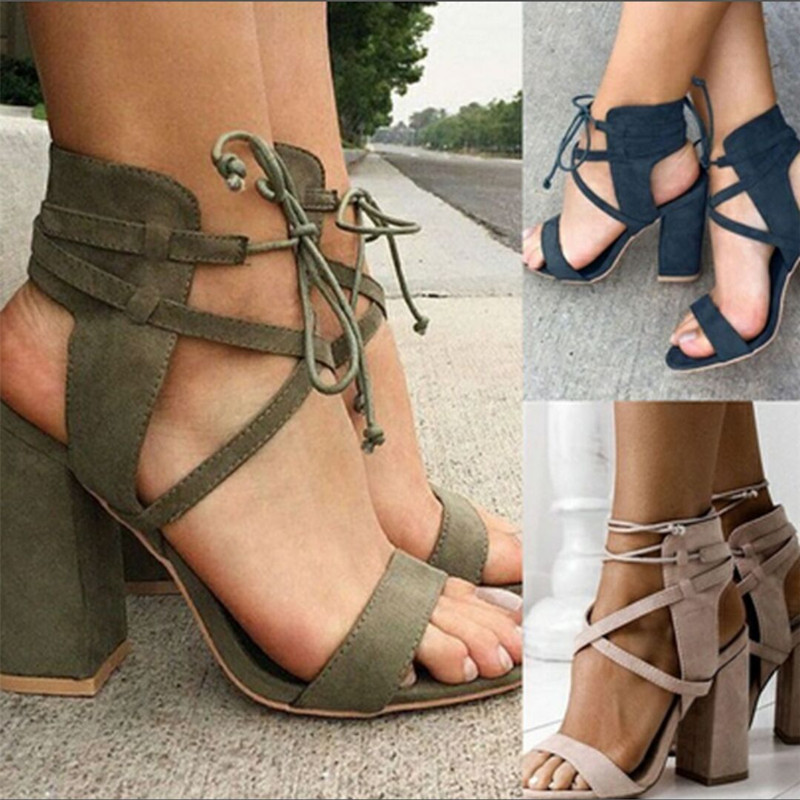 e5c0d477785 Women Pumps Sexy High Heels Sandals Women Summer Suede Plus Size 35-43  Ladies Thick Heel Ankle Strap Open Toe Sandals BTD1024