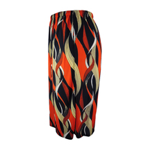 Women's High Waisted Plus Size Long Skirt with Wave Print