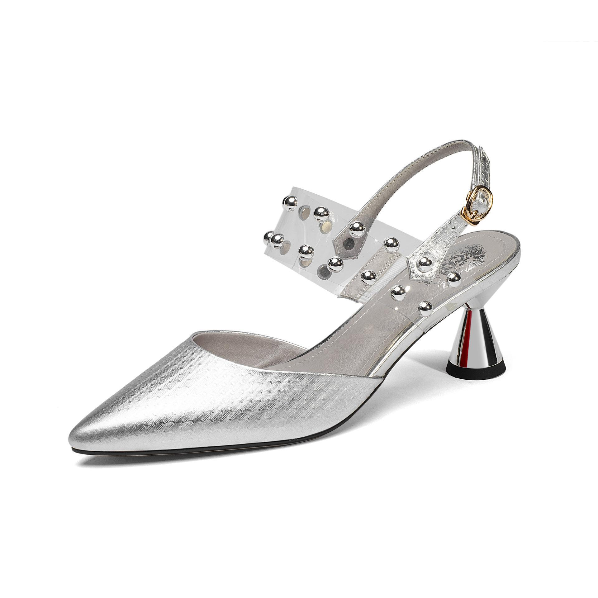 Lady Zapatos Mujer Back Strap Sandals Patent Cow Leather Closed Toe Shoes Office Elegant Sandalias 2018 Pointed Toe 6cm creativesugar elegant pointed toe lady