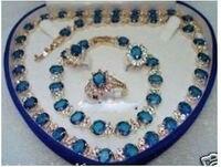 00598 Beautiful Blue Stone Set Necklace Bracelet Earrings Ring