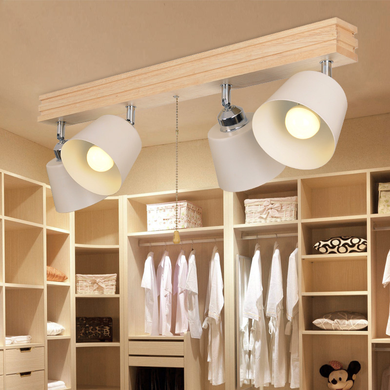 Bedroom Track Lighting: Nordic Japanese Style LED Solid Wood Spotlights Track