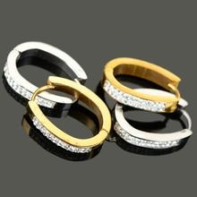 цена на 1Pair Punk Rhinestone Inlaid Titanium Steel Ear Hoop Women Men Earrings Mix Styles 4  4.5  7mm Unisex Charm Jewelry