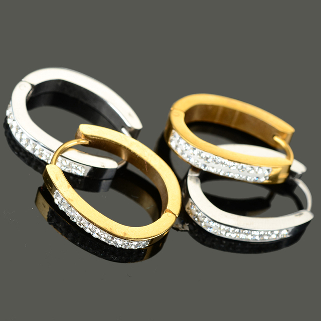 1Pair Punk Rhinestone Inlaid Titanium Steel Ear Hoop Women Men Earrings Mix Styles 4  4.5  7mm Unisex Charm Jewelry