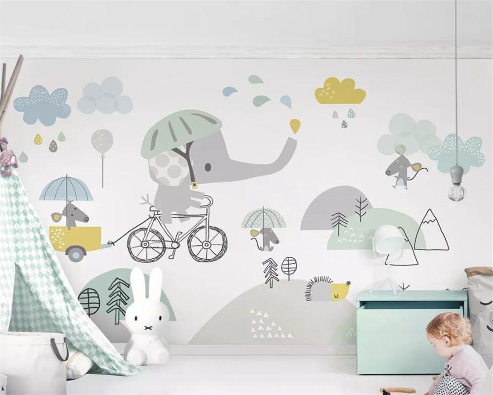US $8 85 OFF Beibehang Custom Wallpaper Cute Cartoon Elephant Riding Bicycle Hamster Cloud Children Background Wall Decoration 3d