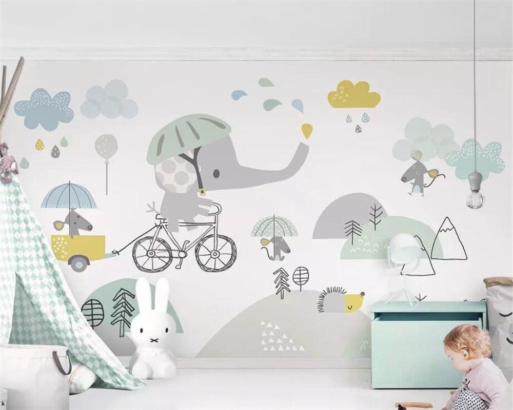US $8 85 OFF Beibehang Wallpaper Kustom Lucu Kartun Gajah Naik Sepeda Hamster Cloud Anak Anak Latar Belakang Dinding Dekorasi 3D
