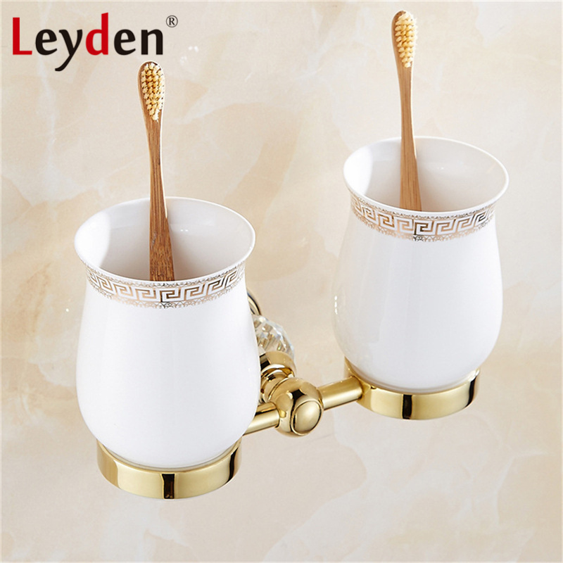Leyden Luxury Crystal Toothbrush Holder Chrome/ Gold Wall Mounted Cup/ Tumbler Toothbrush Holder  Double Cups Bathroom Accessory stainless steel double tumbler toothbrush holder cup bracket set wall mounted
