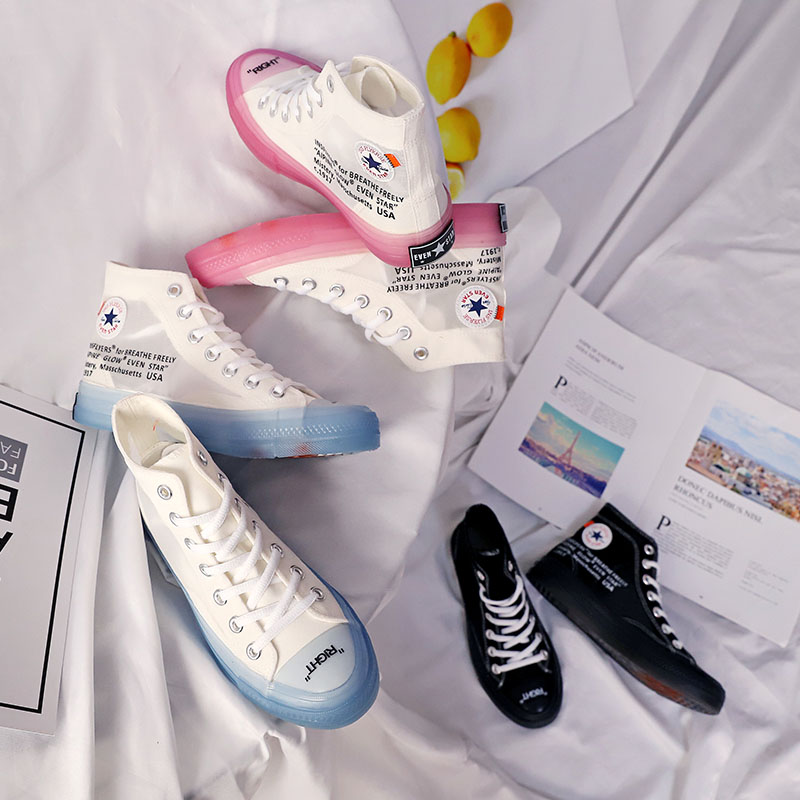 Shoes Responsible Canvas Shoes With High Tops Flats Harajuku Fashion Transparent Soles Casual Shoes Summer Lace Breathable Canvas Lace-up Flats