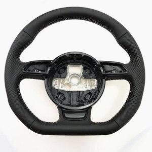 Image 1 - NoEnName_Null dla Audi A3 A4 A5 A6 A7 Q3 Q5 Q7 w pełni perforowana kierownica płaska podeszwa kierownica kampania