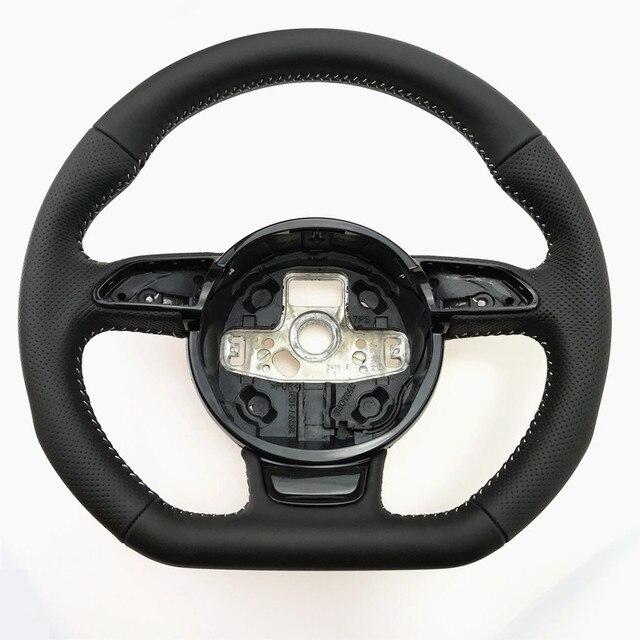 NoEnName_Null dla Audi A3 A4 A5 A6 A7 Q3 Q5 Q7 w pełni perforowana kierownica płaska podeszwa kierownica kampania