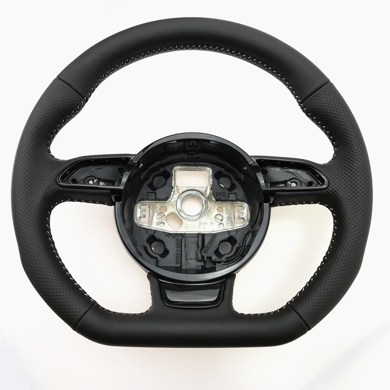 NoEnName_Null  for Audi A3 A4 A5 A6 A7 Q3 Q5 Q7 fully perforated steering wheel flat bottom steering wheel campaignSteering Wheels & Horns   -