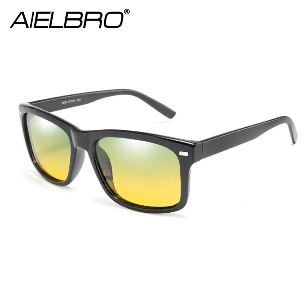 Купить с кэшбэком AIELBRO Classic Cycling Day Night Vision Sunglasses Men Women Driving Goggles Glasses UV400 Driver Night Driving Sun Glasses
