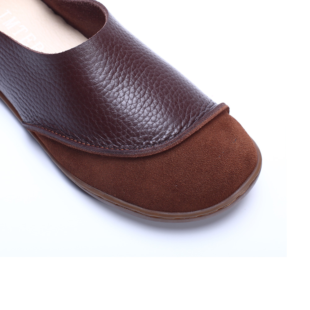 Cuir Yaerni Plates Véritable coffee Glissement Bout En Sur La Brown Pour Rond Femmes Dames Chaussures Mocassins À Main Faites BA0Brwq