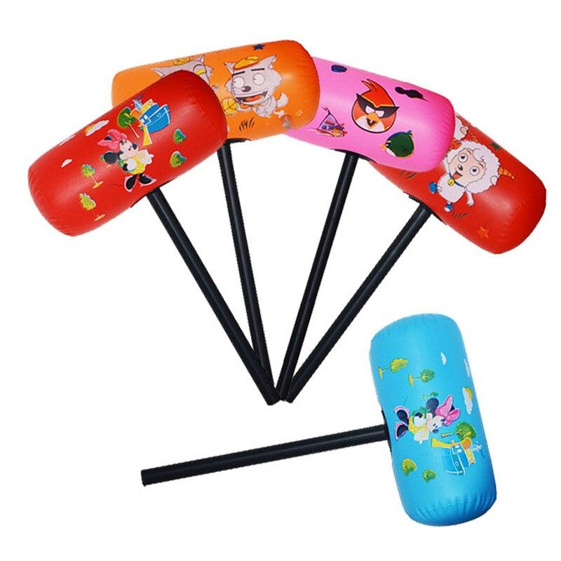 5pcs Cartoon hard plastic pole Pneumatic hammer Children classic toys air balls