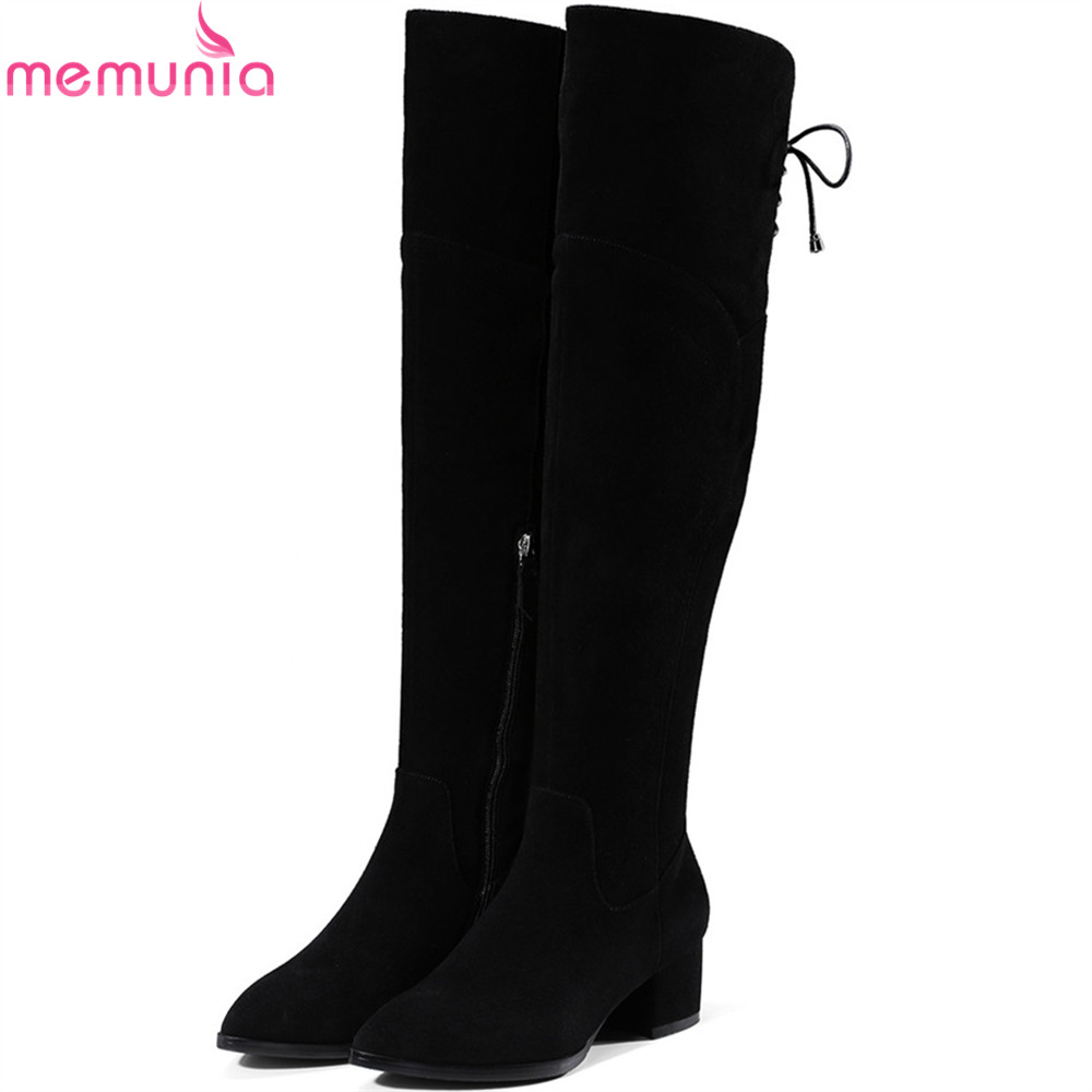 MEMUNIA black fashion women boots pointed toe ladies cow suede boots zipper square heel leather over the knee boots memunia fashion women boots round toe genuine leather boots zipper square heel wool keep warm cow leather mid calf boots
