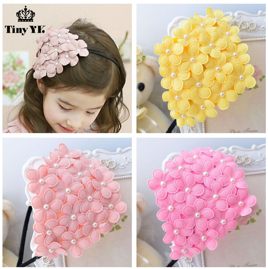 Children headbands Baby Headwear Flower Hairband Pearl Girl Headband Hair Band Princess Accessories P239 women girl bohemia bridal camellias hairband combs barrette wedding decoration hair accessories beach headwear