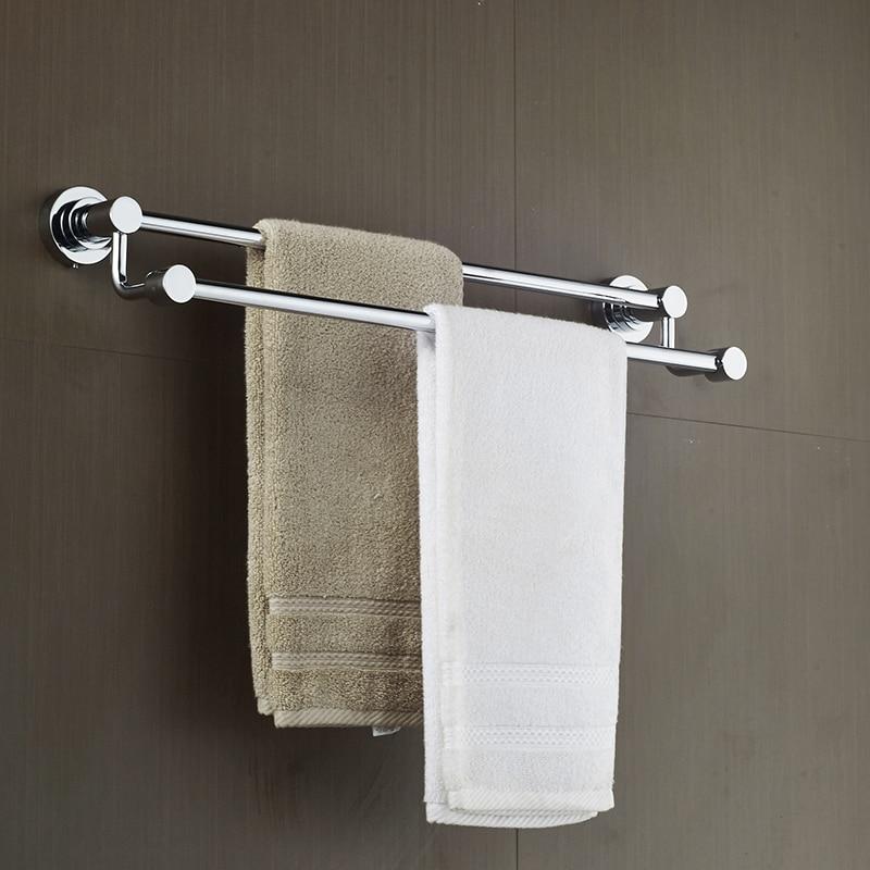 AUSWIND Free drilling double rod hanging towel rack double bar bathroom stainless steel towel shelf bathroom hardware стоимость