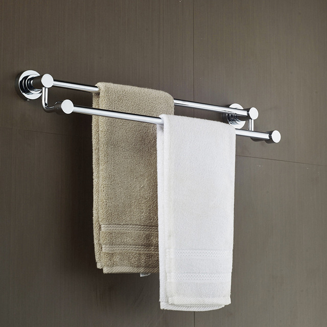 hanging towel. AUSWIND Free Drilling Double Rod Hanging Towel Rack Bar Bathroom Stainless Steel Shelf L