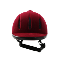 CE approve Wine red and black flock equestrian helmet for horse riding high quality cap