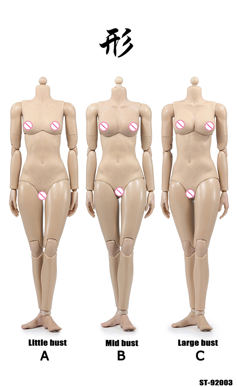 """1//6 Scale POPTOYS 12/"""" Pale Big Breast Flexible Action Figure Body 92006C Gifts"""