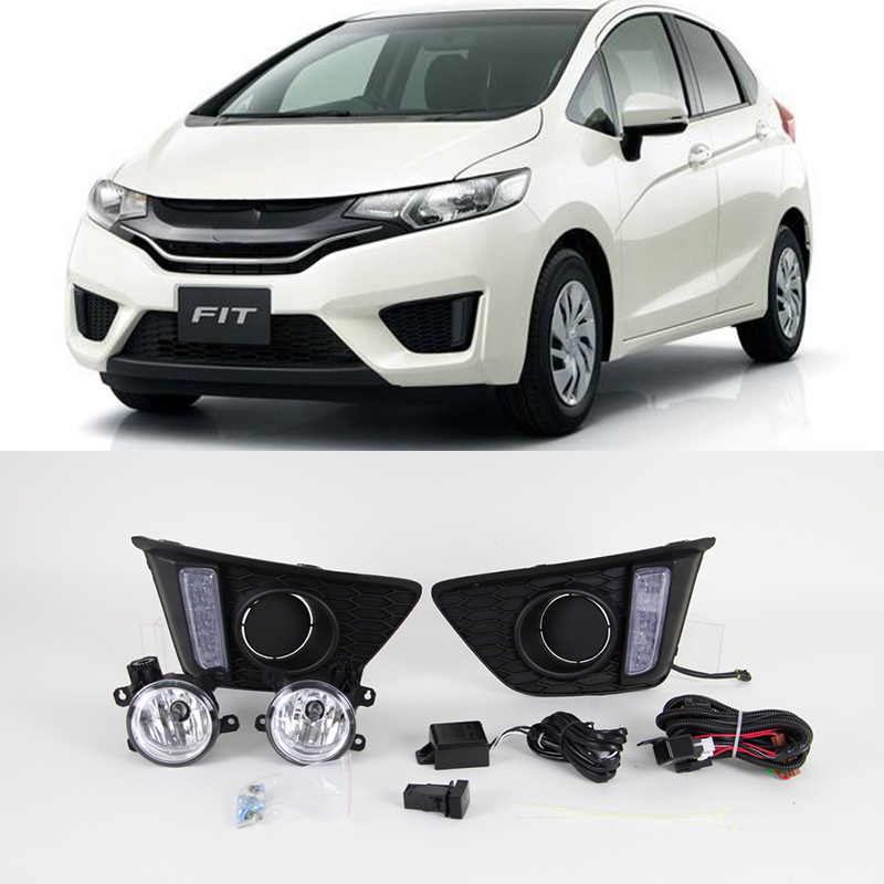 Car Flashing 1Set For Honda jazz fit 2014 2015 2016 LED DRL Daytime Running Lights Daylight