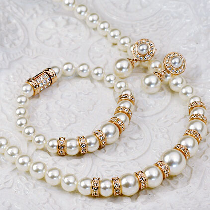 USTYLE Luxurious Pearls Set Necklace Earring Bracelet Alloy plated Rose Gold Rhodium with Austria Crystal Fashion Jewelry