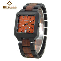 BEWELL100 Natural Wooden Men Watch With Calendar Japanese Quartz Movement Casual Watches Relogio Masculino With Box