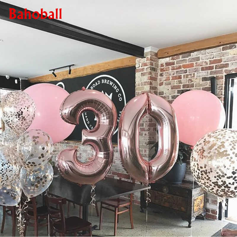 1pc 32inch Rose Gold Silver Aluminium Foil Number Balloons 0-9 Birthday Wedding Engagement Party Decor Globo Kids Ball Supplies