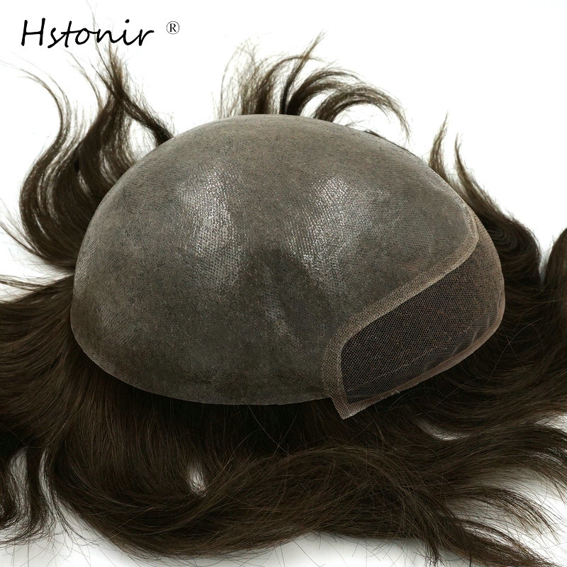 Hstonir Indian Remy Hair Material Mens Toupee Top Closure Hair Replacement System Easy Trichological System H091