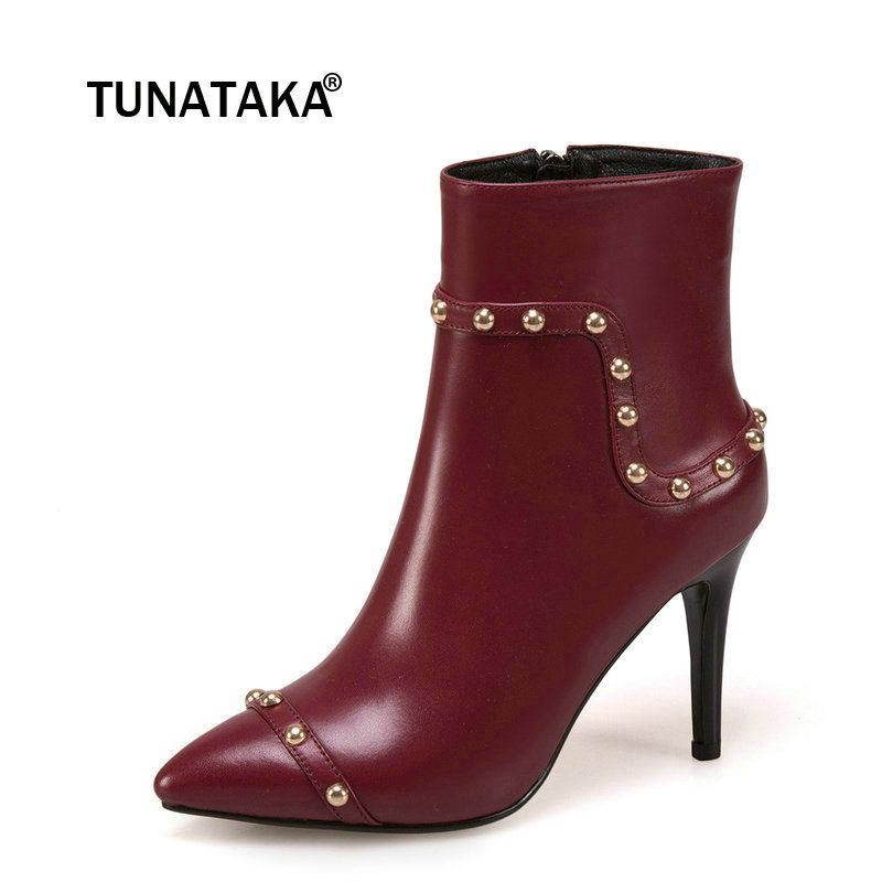 Women Genuine Leather Thin High Heel With Side Zipper Ankle Boots Fashion Pointed Toe Rivet Winter Ladies Shoes Black fashion rivet thin high heel genuine leather ankle boots women side zipper pointed toe winter shoes black wine red