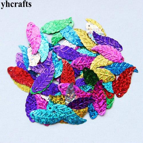 20gram/Lot 16x45mm Long Leaf With Hole Sequin Craft Material Kindergarten Crafts Intelligence Creative Activity Item DIY Toys