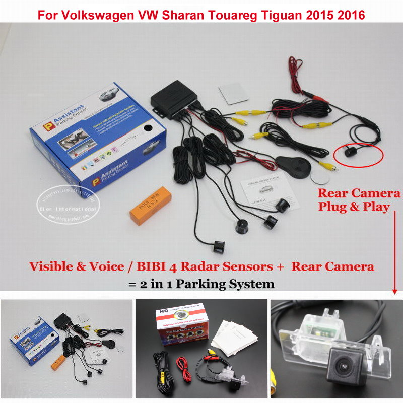 For Volkswagen Sharan Touareg Tiguan 2015 2016 Car Parking Sensors + Rear View Camera = 2 in 1 Visual BIBI Alarm Parking System коврик для приборной панели авто bbt tpe xpe volkswagen tiguan r touareg lavida